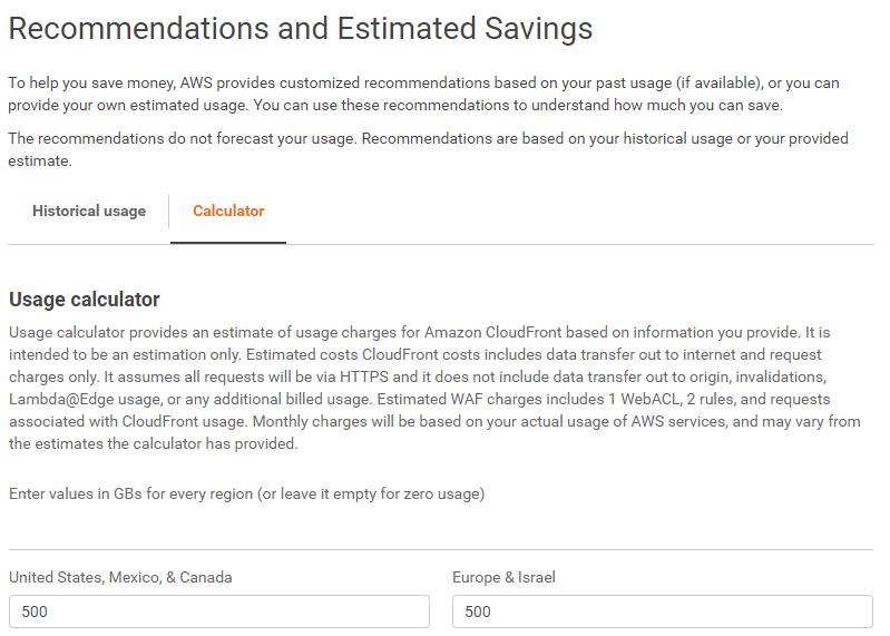 CloudFront Savings Bundle Calculator